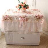 蕾絲桌布櫃台防塵罩床頭櫃罩歐式碎花蕾絲多用途桌巾萌萌豬 館