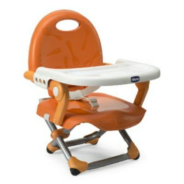 【口手柔濕巾迷你8抽X3包】義大利 Chicco-Pocket攜帶式輕巧餐椅座墊/嬰兒餐椅(橙橘) 990元
