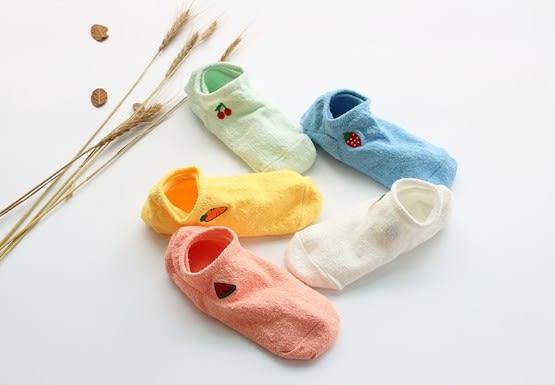 [協貿國際]女士船襪純色水果刺繡淺口襪子