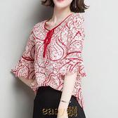【新年鉅惠】短袖雪紡衫女2019新款夏裝寬松顯瘦飄逸碎花上衣超仙時尚洋氣小衫