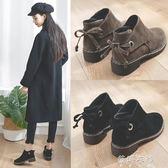 馬丁靴英倫風學生韓版百搭平底鞋女加絨小短靴女靴子 蓓娜衣都