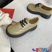 牛津鞋 2021春秋新款英倫風小皮鞋女粗跟大頭復古厚底牛津鞋系帶中跟單鞋 618狂歡
