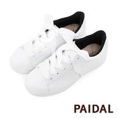 Paidal 亮蔥白後套拼接緞帶鞋小白鞋綁帶休閒鞋