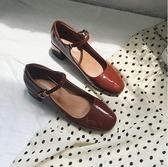 瑪麗珍鞋女復古2020淺口一字扣單鞋粗跟方頭中跟仙女鞋chic學生鞋