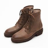 MICHELLE PARK 學院馬汀 個性簡約綁帶低跟五分靴-咖啡