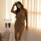 限量現貨◆PUFII-洋裝 V領腰抽繩前開衩針織洋裝-0924 現+預 秋【CP19153】