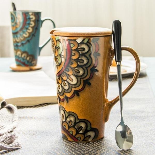 陶瓷馬克杯復古大容量辦公室情侶水杯茶杯家用簡約杯子帶蓋勺  熊熊物語
