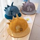 寶寶秋冬帽 童帽 寶寶帽 保暖帽 恐龍刺繡毛絨漁夫帽 (1歲-3歲)【ZJA020】