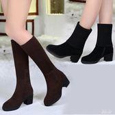 大尺碼韓版毛線靴子女圓頭中筒靴 中跟百搭粗跟雪地靴兩穿女靴 DN21405『男神港灣』