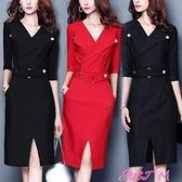 職業洋裝2021春秋新款大碼V領氣質職業裙女中長款收腰修身包臀打底連身裙 JUST M