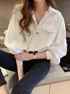 女襯衫 牛仔襯衫女加厚百搭2020秋冬新款寬松韓版設計感小眾白色上衣長袖【快速出貨八折特惠】