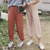 長褲 素色 雪紡 冰絲 小腳 縮口褲 燈籠褲 休閒 九分褲【YF133】 BOBI  04/18