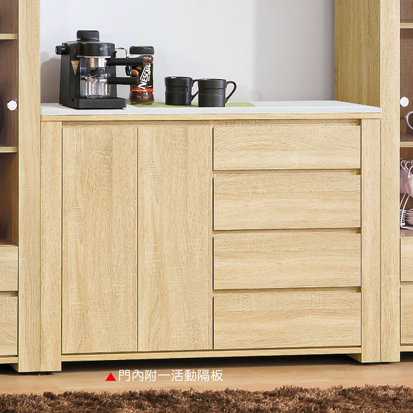 【森可家居】漢娜4尺石面收納櫃 8HY414-03 廚房餐櫃  木紋質感 北歐風