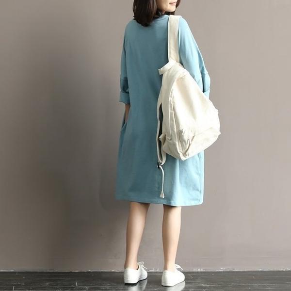 漂亮小媽咪 小清新洋裝 【D5066】 印花 寬鬆 舒適 蝙蝠袖 柔棉 七分袖 孕婦裝 過膝裙 加大碼