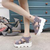 夏季新款休閒鬆糕跟防水台坡跟厚底魚嘴涼鞋中跟女鞋潮『潮流世家』