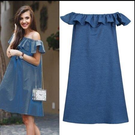 歐美一字領洋裝長裙L-4XL中大尺碼一字肩荷葉領無袖寬鬆連衣裙2F029.8528皇潮天下