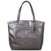 COACH 復古LOGO金屬光澤皮革 肩背包 托特包(銀灰)-14967