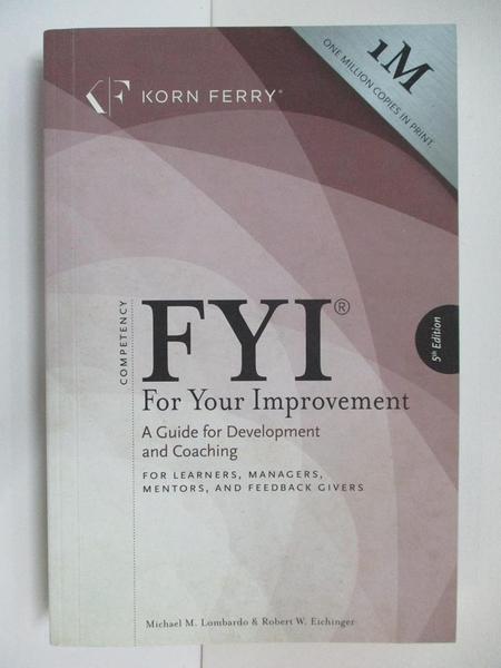 【書寶二手書T1/原文書_DQP】FYI: For Your Improvement - For Learners, Managers…