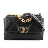 【CHANEL】Chanel 19金色CC Logo三色鍊帶菱格紋口蓋包 AS1160 B04408 94305