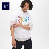 Gap男裝 Logo印花圓領短袖T恤 465994-光感白