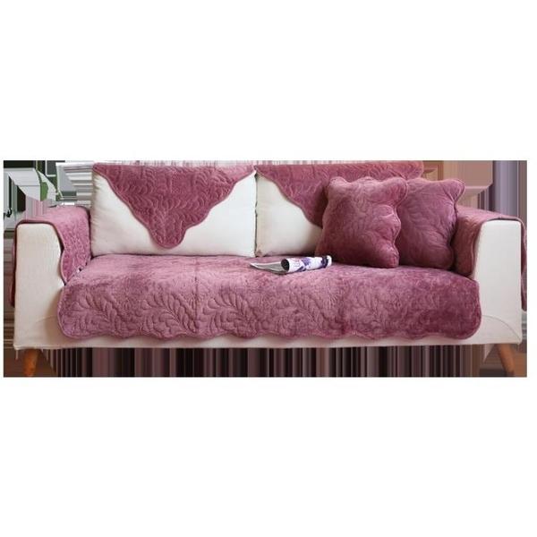 簡約現代法蘭絨沙發墊坐墊布藝短毛絨沙發套巾防滑定做 黛尼時尚精品