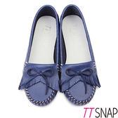 莫卡辛-TTSNAP MIT全真皮流蘇蝴蝶結平底休閒鞋 藍