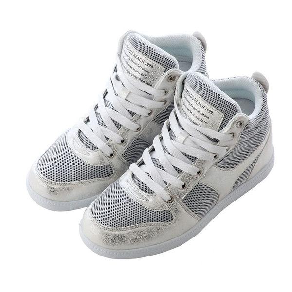 正韓製 布面裂紋氣墊內增高鞋8CM 銀