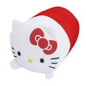 〔小禮堂〕Hello Kitty 大臉造型圓筒網狀洗衣袋《紅白》洗衣網袋.收納袋 4582135-13447
