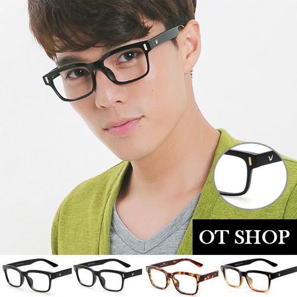 OT SHOP眼鏡框‧中性韓國型男格紋V鏡框窄板框平光眼鏡‧亮黑/霧黑/咖啡色/琥珀‧現貨‧J17