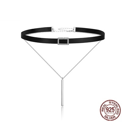 925純銀項鍊鑲鑽-方形雙層簡約日韓女鎖骨鍊73og3【時尚巴黎】