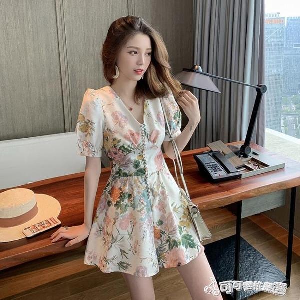 連身褲 V領碎花荷葉邊裙褲女2020夏季新款韓版復古小眾御姐范洋氣連身褲
