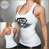 健身背心女露肩無袖T恤修身瑜伽服健身背心運動