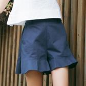 闊腿高腰短褲女夏季韓版寬鬆顯瘦荷葉邊喇叭邊學生百搭純色休閒褲 小巨蛋之家