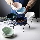 寵物碗 陶瓷貓碗貓咪水碗保護頸椎貓食盆貓糧碗貓水盆斜口碗狗狗碗 雙十一特惠