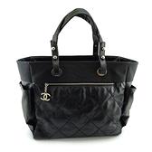 【奢華時尚】CHANEL 黑色菱格紋帆布比亞里茲肩背大購物包(九成新)#24867