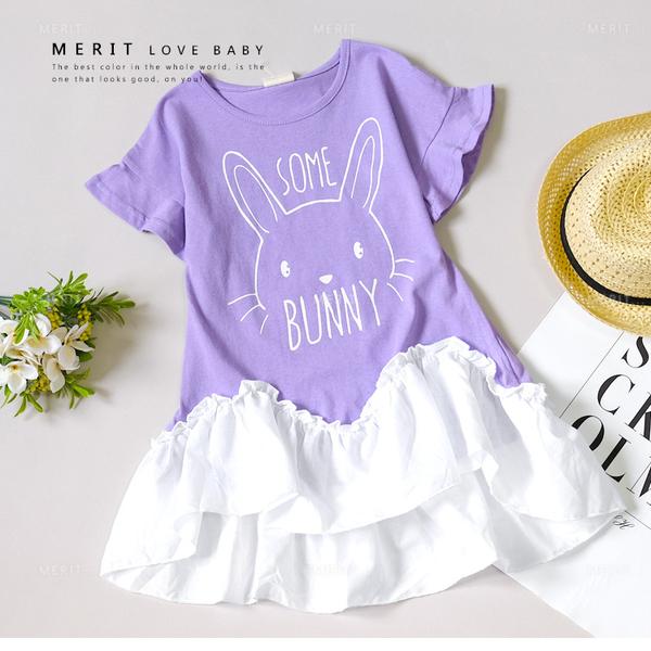 純棉 韓版甜美兔子塗鴉拼接荷葉邊洋裝 女童洋裝 女童短袖 荷葉袖 紫色 女童裝 哎北比童裝