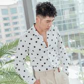 男 襯衫/春夏/防皺/長袖 L AME CHIC 70'S 復古波點襯衫【LCGTLS063001】