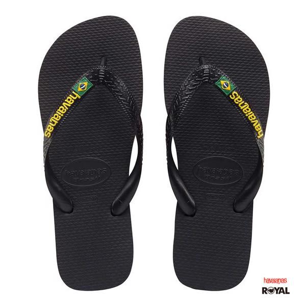 Havaianas 哈瓦士 新竹皇家 BRASIL 黑色 拖鞋 男款 NO.H2075