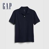 Gap男童 簡約風格純色POLO領短袖 539257-藍色