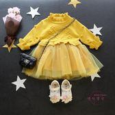 嬰兒洋裝 新品秋冬保暖 女童毛衣網紗洋裝 女寶寶長袖公主裙子 嬰兒童裝 中元節禮物