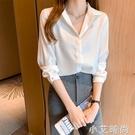 2021年早春裝新款白色雪紡襯衫女設計感小眾長袖藍色洋氣時尚上衣 小艾新品