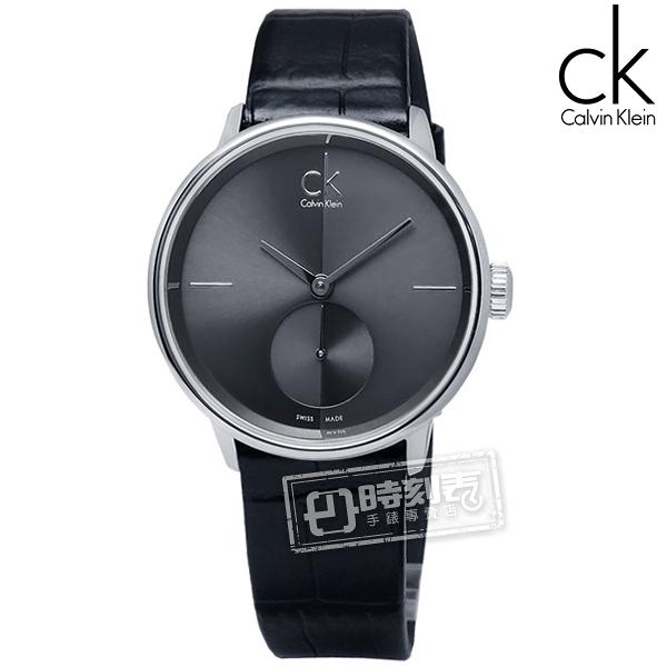 CK / K2Y231C3 / Uhren Accent 獨立秒針瑞士機芯皮革手錶 黑色 31mm