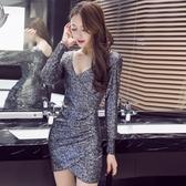 2020秋裝新款夜店女裝不規則性感洋裝氣質時尚亮片夜場包臀裙子 安妮塔小鋪