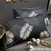 北歐簡約INS風全棉純棉枕頭套一對裝單人枕套皮家用枕芯內膽外套 (橙子精品)