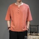 居士服中國風棉麻短袖T恤男寬鬆中式條紋上衣夏季民族居士茶禪漢服唐裝 噯孕哺