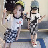 女童套裝夏裝小女孩時尚衣服洋氣套裝短袖公主套裙兩件套「千千女鞋」