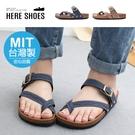 [Here Shoes]MIT台灣製 3cm涼鞋 休閒百搭民俗風圖騰 厚底扣帶圓頭涼拖鞋-AN826