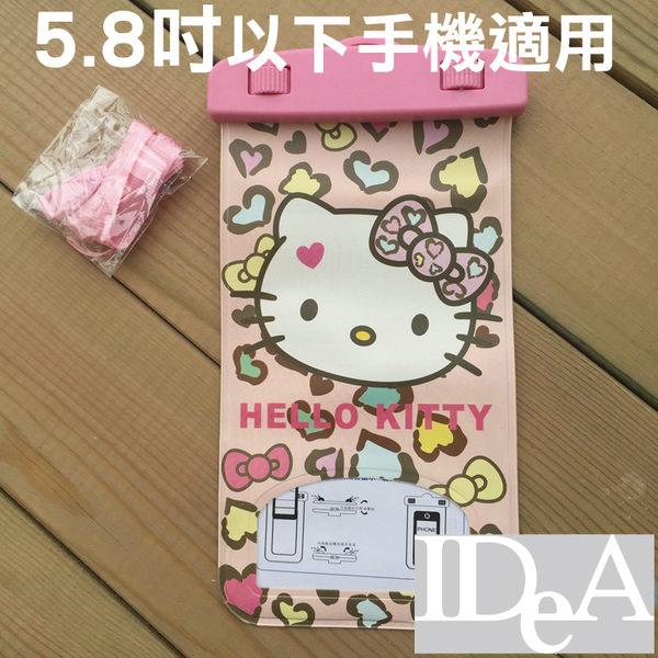 三麗鷗 Hello Kitty 凱蒂貓頸掛式手機觸控防水收納袋 通用5.8吋 保護套 Sanrio 游泳 浮潛 玩水遊戲3