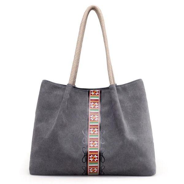 側背托特包 文藝復古帆布包 印花大容量手提包《小師妹》f586