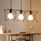 吊燈北歐風格簡約工業風鐵藝吊燈創意個性餐廳吧台單三頭陽台過道燈具【限量85折】